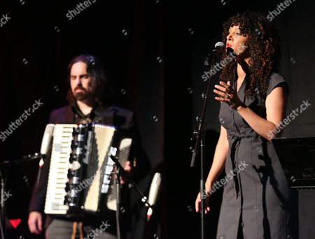 """Bear McCreary, left, and Raya Yarbrough perform at the premiere for the STARZ original series """"Outlander"""" during San Diego Comic-Con on in San Diego. """"Outlander"""" premieres on STARZ August 9, 2014"""