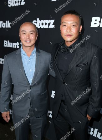 """C.S. Lee, left, and Chris Oh arrive at the Los Angeles premiere of """"Blunt Talk"""" presented by Starz at the DGA Theater, in Los Angeles"""