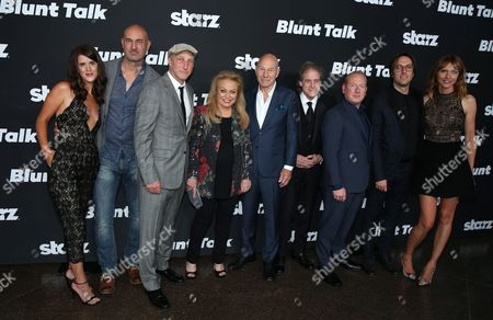 """Mary Holland, and from left, Daniel Stewart, Jonathan Ames, Jacki Weaver, Patrick Stewart, Richard Lewis, Adrian Scarborough, Timm Sharp, and Dolly Wells arrive at the Los Angeles premiere of """"Blunt Talk"""" presented by Starz at the DGA Theater, in Los Angeles"""