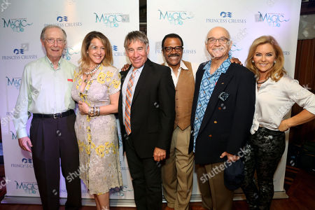 Stephen Schwartz, the Oscar, Grammy and Tony award-winning composer ofWicked, PippinandGodspell, Joely Fisher and the cast of The Love Boat Bernie Kopell, Stephen Schwartz, Ted Lange, Gavin MacLeod and Jill Whelan at the premiere of the new musical revue titledMagic to Doaboard theCrown Princess on Sat., in Los Angeles