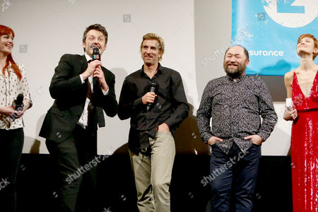 Director/Writer/Producer/Actor Ilya Naishuller, Executive Producer/Actor Sharlto Copley and Producer Timur Bekmambetov seen at STX Entertainment 'Hardcore Henry' screening at 2016 SXSW Film Festival, in Austin, TX