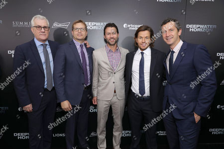 """David Linde, Participant Media Chief Executive Officer, Geoff Shaevitz, President of Production, Summit Entertainment, Jonathan King, Participant Media EVP, Narrative Film, Mark Wahlberg and Erik Feig, Co-President of Lionsgate Motion Picture Group, seen at Summit Entertainment New Orleans Premiere of """"Deepwater Horizon"""", in New Orleans"""
