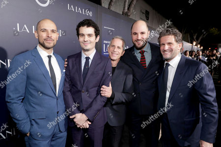 """Producer Fred Berger, Writer/Director Damien Chazelle, Producer Marc Platt, Producer Jordan Horowitz and Producer Gary Gilbert seen at Summit Entertainment, a Lionsgate Company, Presents the Los Angeles Premiere of """"La La Land"""" at Village Theatre, in Los Angeles"""