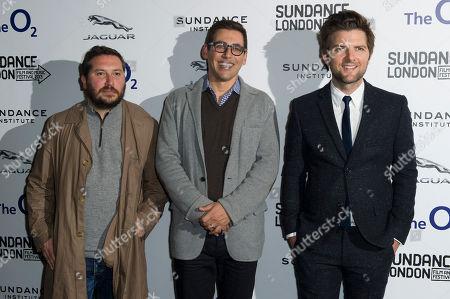 Teddy Schwarzman, Stuart Zicherman and Adam Scott arrive for the A.C.O.D premiere at the Sundance Film Festival in London
