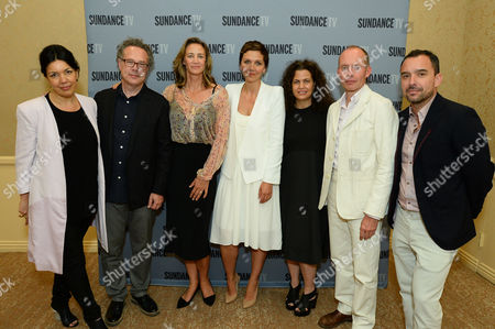 "From left, Sarah Barnett, President and General Manager, SundanceTV, Greg Brenman, Executive Producer, actress Janet McTeer, actress Maggie Gyllenhaal, Nena Rodrigue, SVP of Original Programming, SundanceTV, Hugo Blick, Creator/Producer/Writer/Director and Christian Vesper: SVP of Scripted Programming, SundanceTV at SundanceTV TCA Panel for ""The Honorable Woman"" at the Beverly Hilton on in Beverly Hills"