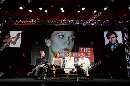 """From left, Greg Brenman, Executive Producer, Janet McTeer, Maggie Gyllenhaal and Hugo Blick, Creator/Producer/Writer/Director at SundanceTV TCA Panel for """"The Honorable Woman"""" at the Beverly Hilton on in Beverly Hills"""