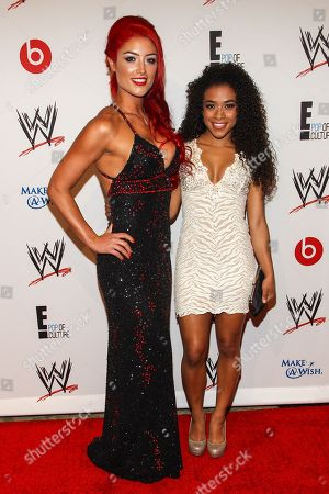 From left, WWE Superstars Natalie Marie Nelson (AKA Eva Marie) and Joseann Alexie Offerman (AKA JoJo) arrive at the Superstars of Hope honors Make A Wish Foundation event at The Beverly Hills Hotel on in Beverly Hills, Calif