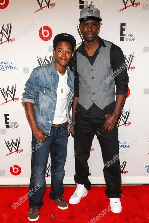 From left, actors Octavius J. Johnson and Kwame Patterson arrive at the Superstars of Hope honors Make A Wish Foundation event at The Beverly Hills Hotel on in Beverly Hills, Calif