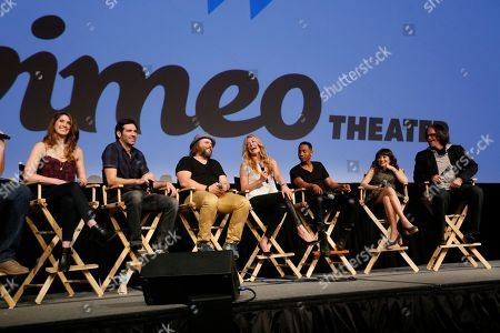 "Cody Heller, from left, Brett Konner, Tyler Labine, Cat Deeley, Brandon Jackson, Lucy DeVito and director Troy Miller, from left,discuss their new Hulu series ""Deadbeat"" during the SXSW Film Festival, in Austin, Texas"