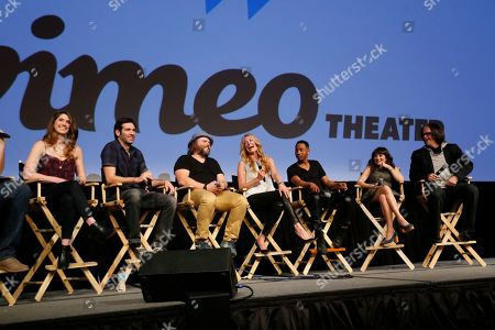 "Cody Heller, Brett Konner, Tyler Labine, Cat Deeley, Brandon Jackson, Lucy DeVito and director Troy Miller, from left,discuss their new Hulu series ""Deadbeat"" during the SXSW Film Festival, in Austin, Texas"