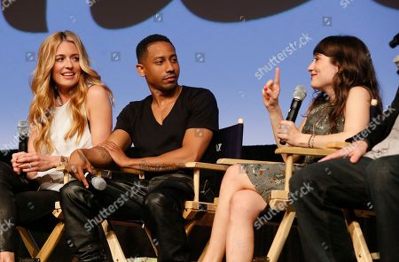 "Cat Deeley, Brandon Jackson, and Lucy DeVito, from left, from left, discuss their new Hulu series ""Deadbeat"" during the SXSW Film Festival, in Austin, Texas"
