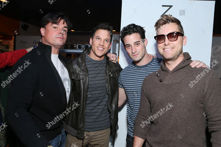From left, Tom DeSanto, Mike C. Manning, Michael Turchin and Lance Bass attend Talent Resources suites,, in Park City, Utah