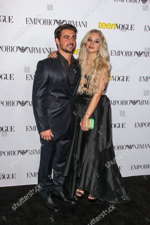 Johnny DeLuca, left, and Mollee Gray attend the Teen Vogue's 13th Annual Young Hollywood Issue Launch Party on in Los Angeles