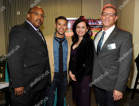 "IMAGE DISTRIBUTED FOR ACADEMY OF TELEVISION ARTS & SCIENCES - From left, Diversity Committee Chair and Children's Programming Peer Group Governor Daniel Evans III, actors Wilson Cruz and Guinevere Turner, and Casting Directors Peer Group Governor Howard Meltzer attend the Academy of Television Arts & Sciences Presents 10 Years After ""The Prime Time Closet - A History Of Gays And Lesbians On TV,"", at the Leonard H. Goldenson Theatre in North Hollywood, Calif"