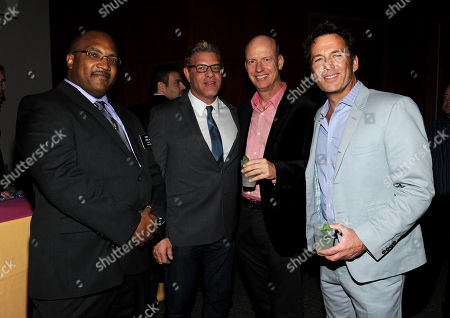 """IMAGE DISTRIBUTED FOR ACADEMY OF TELEVISION ARTS & SCIENCES - From left, Diversity Committee Chair and Children's Programming Peer Group Governor Daniel Evans III, Diversity Committee Member and Casting Directors Peer Group Governor Howard Meltzer and actors Terry Ray and David Millbern attend the Academy of Television Arts & Sciences Presents 10 Years After """"The Prime Time Closet - A History Of Gays And Lesbians On TV,"""", at the Leonard H. Goldenson Theatre in North Hollywood, Calif"""