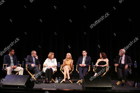 """From left, moderator Dave Karger, Gareth Neame, Phyllis Logan, Joanne Froggatt, Robert James-Collier, Sophie McShera, and Julian Fellowes are seen on stage at An Afternoon with """"Downton Abbey"""" presented by the Television Academy at Paramount Studios, in Los Angeles"""