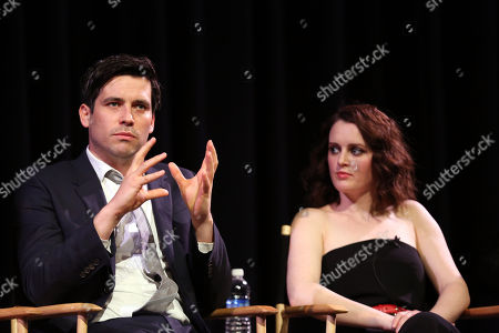 """Actors Robert James-Collier, left, and Sophie McShera are seen on stage at An Afternoon with """"Downton Abbey"""" presented by the Television Academy at Paramount Studios, in Los Angeles"""