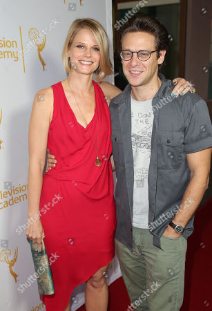 """Joelle Carter, left, and Jacob Pitts arrive at """"An Evening with Justified,"""", at the Television Academy in the NoHo Arts District in Los Angeles"""