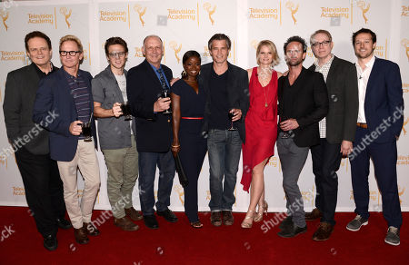 """Tom O'Neill, and from left, Jere Burns, Jacob Pitts, Nick Searcy, Erica Tazel, Timothy Olyphant, Joelle Carter, Walton Goggins, Fred Golan, and Dave Andron attend """"An Evening with Justified"""", at the Television Academy in the NoHo Arts District in Los Angeles"""