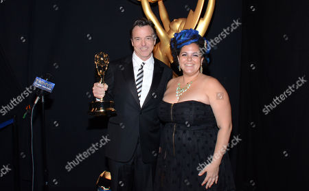 Derek McLane, left and Gloria Lamb at the Television Academy's Creative Arts Emmy Awards at the Nokia Theater L.A. LIVE, in Los Angeles