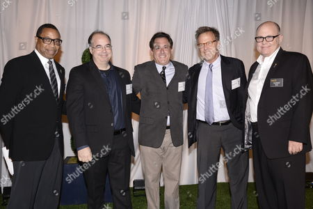 Screech Washington, and from left, Tom Schnauz, Stewart Lyons, Mark Johnson and Tim Gibbons attend at the Television Academy's 66th Emmy Awards Producers Nominee Reception at the London West Hollywood on