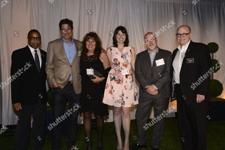 Screech Washington, and from left, Steve Levitan, Sally Young, Megan Ganz, Chris Smirnoff and Tim Gibbons attend at the Television Academy's 66th Emmy Awards Producers Nominee Reception at the London West Hollywood on