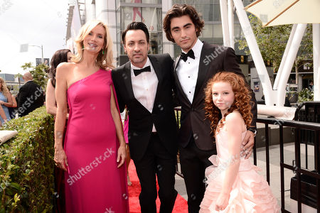 Beth Littleford, from left, Stephen Full, Blake Michael, and Francesca Capaldi arrive at the Television Academy's Creative Arts Emmy Awards at Microsoft Theater, in Los Angeles