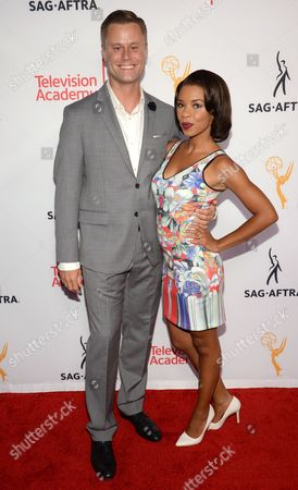 Angel Parker, right, and Eric Nenninger seen at the Television Academy's 67th Emmy Awards Dynamic and Diverse Nominee Reception at the Montage Beverly Hills, in Beverly Hills, Calif