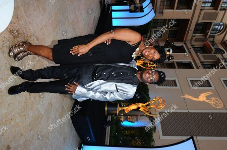 Kamil McFadden, right and Kimberly Parks seen at the Television Academy's 67th Emmy Awards Dynamic and Diverse Nominee Reception at the Montage Beverly Hills, in Beverly Hills, Calif