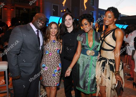 Ernest Skinner, from left, Hillary Atkin, Anthony De la Torre, Tichina Arnold and Erica Ash seen at the Television Academy's 67th Emmy Awards Dynamic and Diverse Nominee Reception at the Montage Beverly Hills, in Beverly Hills, Calif