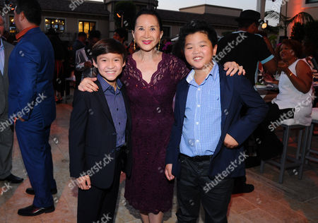 Forrest Wheeler, from left, Lucille Soong and Hudson Yang seen at the Television Academy's 67th Emmy Awards Dynamic and Diverse Nominee Reception at the Montage Beverly Hills, in Beverly Hills, Calif