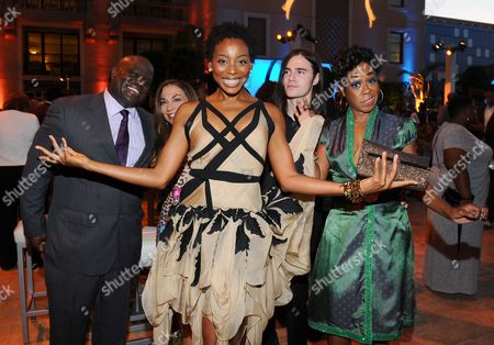 Ernest Skinner, from left, Hillary Atkin, Erica Ash, Anthony De la Torre and Tichina Arnold seen at the Television Academy's 67th Emmy Awards Dynamic and Diverse Nominee Reception at the Montage Beverly Hills, in Beverly Hills, Calif