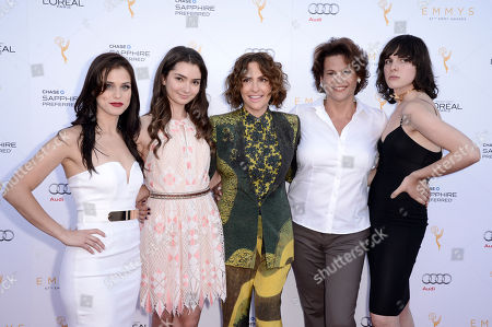 Kelsey Reinhardt, from left, Emily Robinson, Jill Soloway, Alexandra Billings, and Hari Nef arrive at the Television Academy's 67th Emmy Awards Performers Nominee Reception at the Pacific Design Center on Saturday, Sept.19, 2015, in West Hollywood, Calif