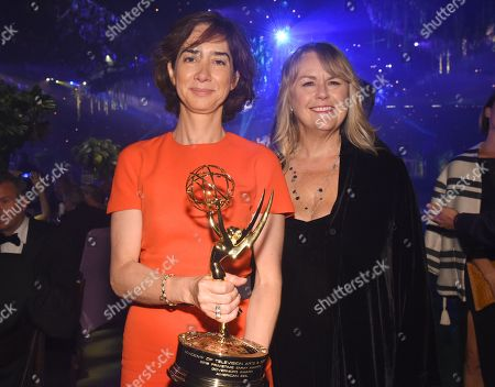 Cecile Frot-Coutaz, left, and Trish Kinane, winners of the Governors Award for â?œAmerican Idolâ??, attend the Governors Ball during night two of the Television Academy's 2016 Creative Arts Emmy Awards at the Microsoft Theater on in Los Angeles