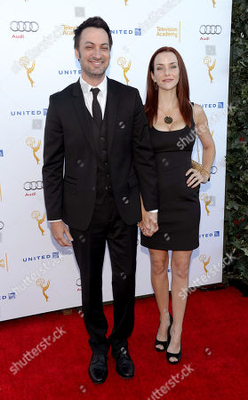 From left, nominee Stephen Full and actress Annie Wersching arrive at the Television Academy's 66th Emmy Awards Performance Nominee Reception at the Pacific Design Center, in West Hollywood, Calif