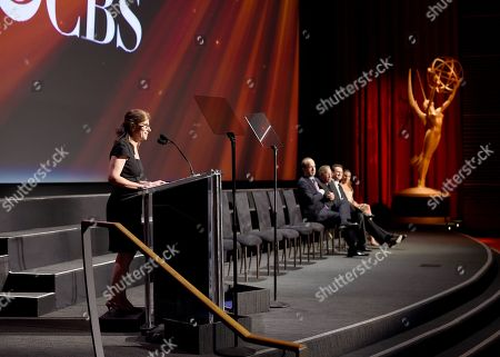 CBSâ?™s Nina Tassler accepts the Hall of Fame Cornerstone Award at the Television Academyâ?™s 70th Anniversary Gala and Opening Celebration for its new Saban Media Center, in the NoHo Arts District in Los Angeles