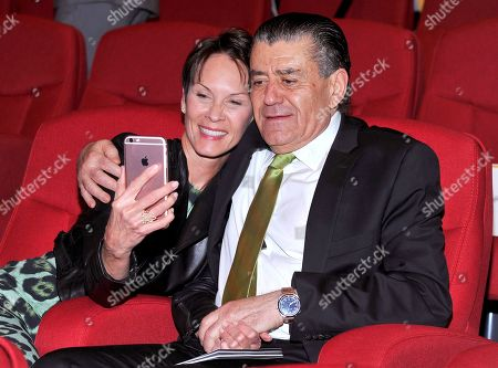 Cheryl Saban, left, and Haim Saban at the Television Academy's 70th Anniversary Gala and Opening Celebration for its new Saban Media Center, in the NoHo Arts District in Los Angeles