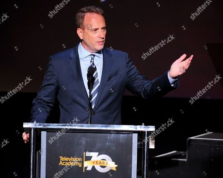 NBCUniversal's Robert Greenblatt accepts the Hall of Fame Cornerstone Award at the Television Academyâ?™s 70th Anniversary Gala and Opening Celebration for its new Saban Media Center, in the NoHo Arts District in Los Angeles