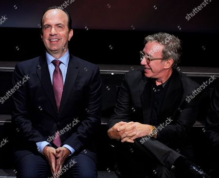 ABCâ?™s Ben Sherwood, left, and Tim Allen speak at the Television Academyâ?™s 70th Anniversary Gala and Opening Celebration for its new Saban Media Center, in the NoHo Arts District in Los Angeles