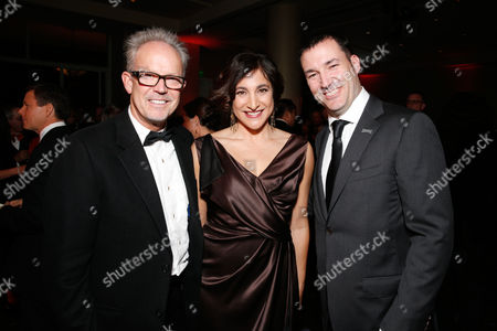 From left, Gary Goetzman, Katherine Sarafian, and Mark Andrews are seen backstage during the cocktail reception at the 24th Annual Producers Guild (PGA) Awards at the Beverly Hilton Hotel, in Beverly Hills, Calif