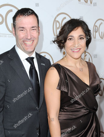 Stock Photo of Mark Andrews and Katherine Sarafian arrive at the 24th Annual Producers Guild (PGA) Awards at the Beverly Hilton Hotel, in Beverly Hills, Calif