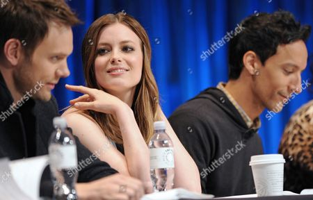 Photo of, from left, Joel McHale, Gillian Jacobs and Danny Pudi courtesy of Samsung Galaxy, taken during the Paley Center for Media's PaleyFest, honoring Community, at the Saban Theatre, in Los Angeles, California