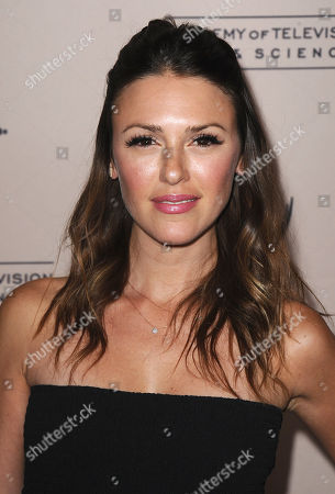 Elizabeth Hendrickson arrives at the 40th Annual Daytime Emmy Awards nominee reception at the Montage Beverly Hills on in Beverly Hills, Calif
