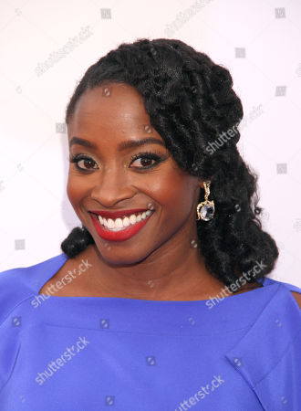 Idara Victor arrives at the 46th NAACP Image Awards at the Pasadena Civic Auditorium, in Pasadena, Calif