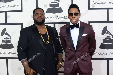 Calvin Frazier, left, and Deitrick Haddon arrive at the 56th annual GRAMMY Awards at Staples Center, in Los Angeles