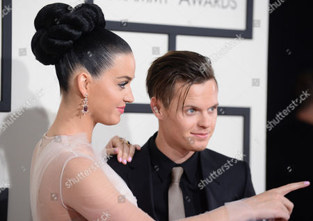 Katy Perry and David Hudson arrive at the 56th annual GRAMMY Awards at Staples Center, in Los Angeles