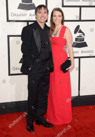 Greg Camalier, left, and Remy Jeffrey arrive at the 56th annual GRAMMY Awards at Staples Center, in Los Angeles
