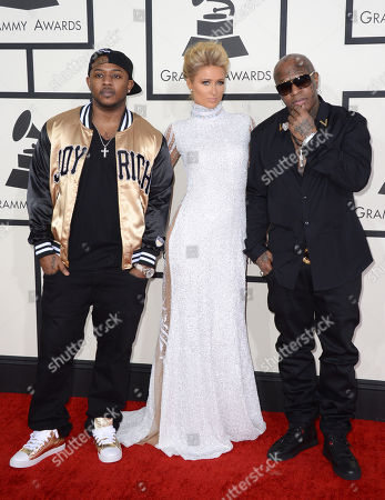 Stock Photo of Mack Maine, from left, Paris Hilton and Birdman arrive at the 56th annual Grammy Awards at Staples Center, in Los Angeles