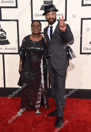 Sharon Jones, left, and Franklin Stribling arrive at the 57th annual Grammy Awards at the Staples Center, in Los Angeles