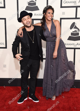 Jax Jones, left, and Kelli Leigh arrive at the 57th annual Grammy Awards at the Staples Center, in Los Angeles